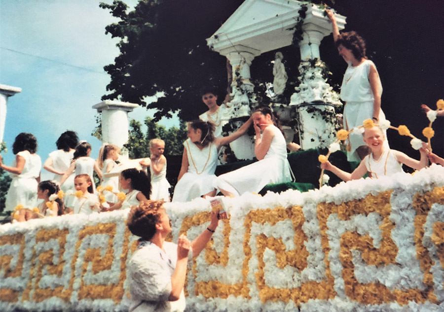 A Greecian Parade Float at the Leyland Festival in years gone by from the Mavis Berry and Helen Allen School of Dance