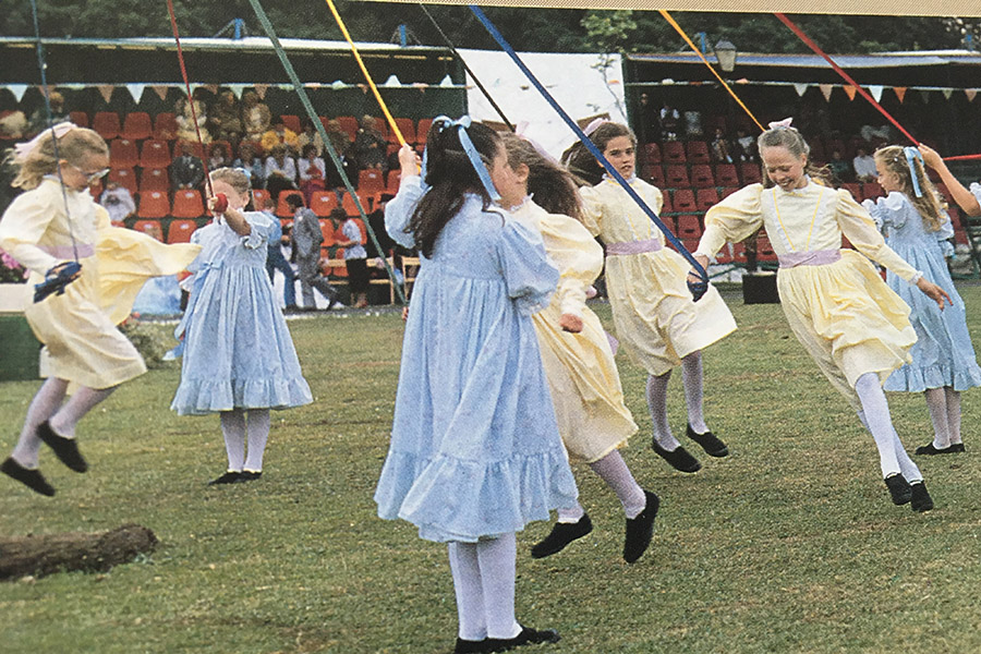 Maypole dancing at the Leyalnd Festival from the Mavis Berry and Helen Allen School of Dance in years gone by